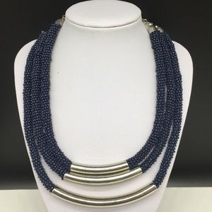 Chico's Blue Seed Beaded Statement Necklace Silver